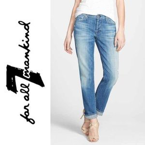 •7FAM• Standard Button Fly Light Wash Jeans